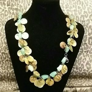 Turquoise shell gold necklace