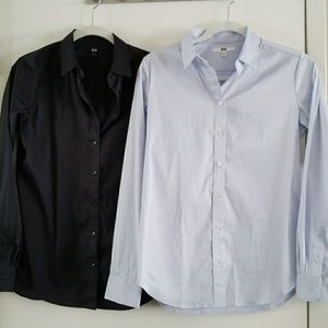 Uniqlo BUNDLE of 2 fitted button down shirts
