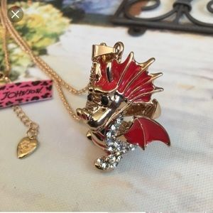 Betsey Johnson Red Dragon Necklace
