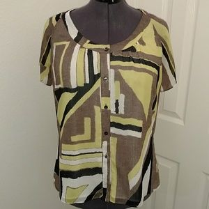 Beautiful blouse- black, muted lime green, taupe