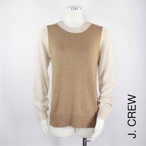 J Crew   Wool Colorblock Zip Camel Sweater 898