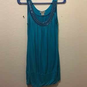 Blue top with beaded accent