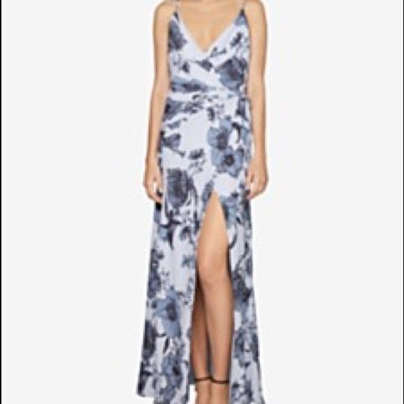 Fame & Partners Dresses & Skirts - Fame & Partners Blue Floral Wrap Dress