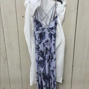 Fame & Partners Dresses - Fame & Partners Blue Floral Wrap Dress