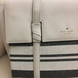 Kate Spade Abigail Cream and Black Leather Tote