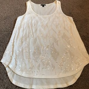 Express Western Chevron White and Creme Sequins