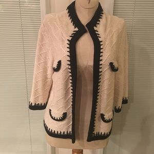 cAbi knitted ivory and black sweater
