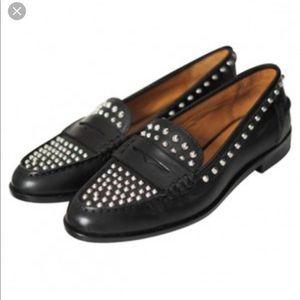 Black leather Zara studded loafer