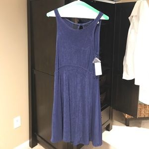 Free people navy dress with lace back NWT