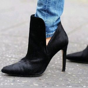 Zara Calf Hair Stiletto Boots Heels Black