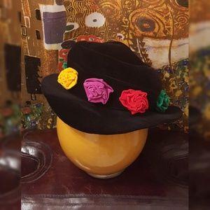 NWOT Fantasy Hats Black Velvet Hat with Flowers