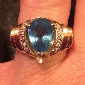 14K YELLOW GOLD BLUE TOPAZ & DIAMOND RING SZ 5 1/2