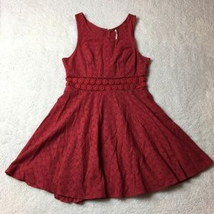 Red lace Cutout floral free people dress