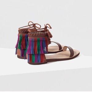 Zara Fringe Leather Sandals