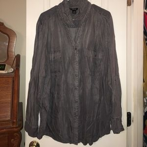 Grey long sleeved button up shirt