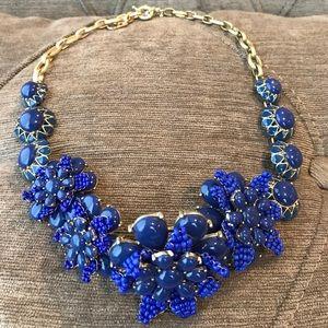 J.Crew Blue Stone Floral Statement Bead Necklace