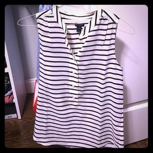 J crew black and white blouse