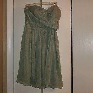 JCrew  sweetheart strapless dress  sage green