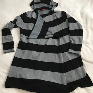 Sweaters - Hooded black and gray stripe long cardigan