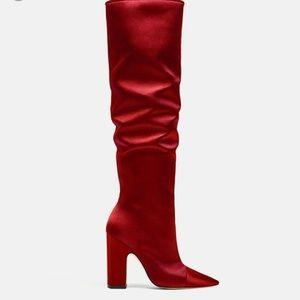 Zara satin boots