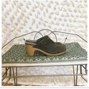 Shoes - Olive Green Suede Clogs