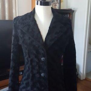 Fur-like Black Coat