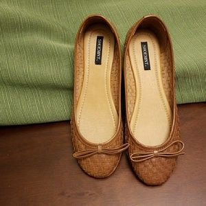Woven Cognac Leather Flats