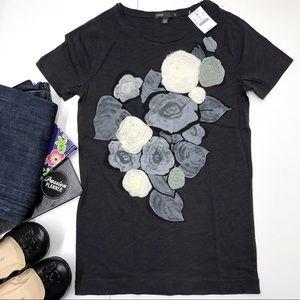 J. Crew Gray Cotton Floral T-Shirt Size S
