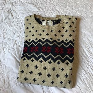 On the byas red blue and tan sweater