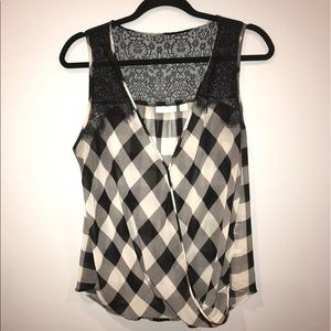 Plaid tank with lace detail