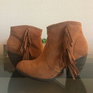 Stacked heel ankle booties with fringe detail