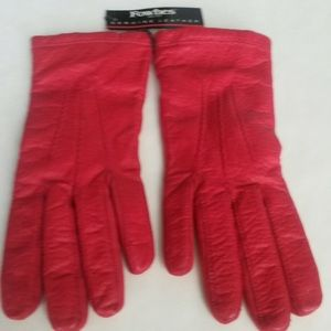 Fownes red leather gloves- tags attached