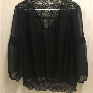 Tops - Beautiful clip dot and lace sheer blouse