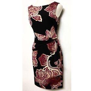 CACHE Black Fuchsia Faux Wrap Size M Floral Dress