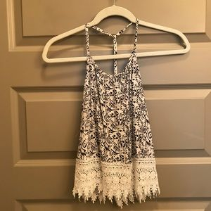 Patterned tank top with fringe detail