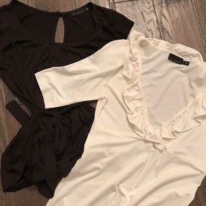 2 tops from the Limited brown and cream
