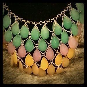 Tear drop necklace multi color