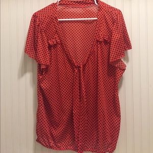 Tops - Cute polka dot ruffle trim tie front blouse