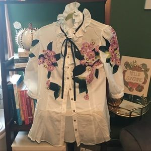 Tops - High Neck Floral Blouse