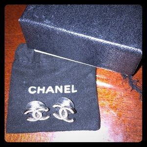100% Authentic Chanel Logo Small Earrings