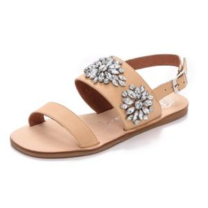Jeffrey Campbell Tan Dola Jeweled Sandals, 9.5