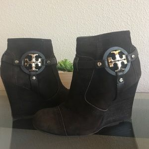 Tory Burch wedge ankle boots in dark brown suede