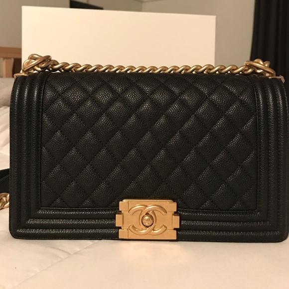 93dc3b31edbdd9 CHANEL Handbags - Chanel le boy bag, caviar, with antique gold chain