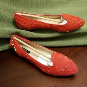 NIB Studded Red Suede Smoking Slippers