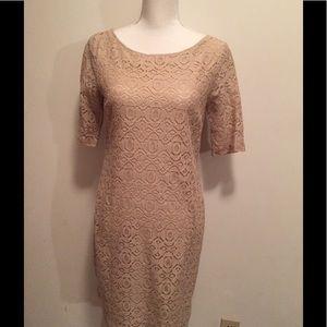 Banana Republic lace dress in beige NWT
