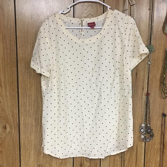 Merona Tops - Cream blouse with polka dots