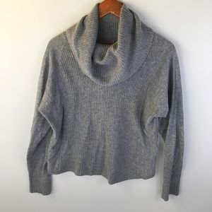Grey cowl neck drop shoulder sweater