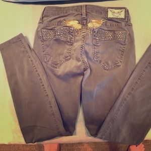 Robins Jean Gray Marilyn Jeans W/ Gold Wing
