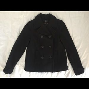 Double Breasted black Peacoat