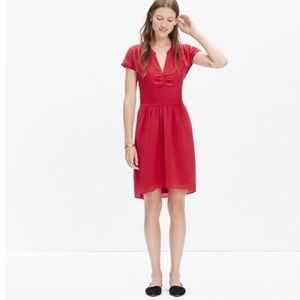 •Madewell• Cranberry Pleated Dress